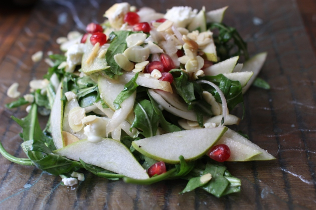 Pear, Arugula and Goat Cheese Salad | Rivka's Kitchen