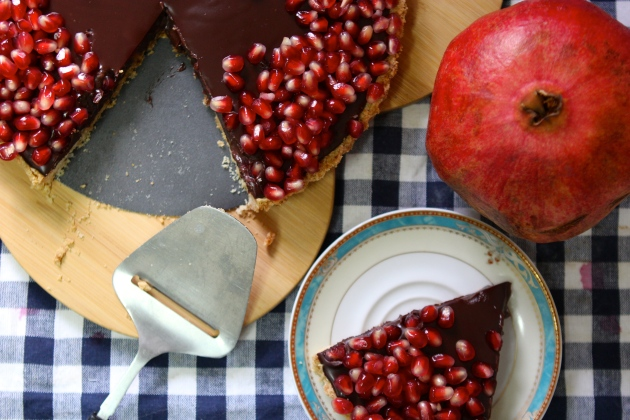 Dark Chocolate, Pomegranate and Almond Tart |Rivka's Kitchen