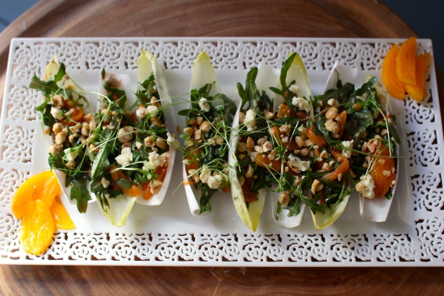 Persimmon Hazelnut and Blue Cheese Endive Cups | Rivka's Kitchen